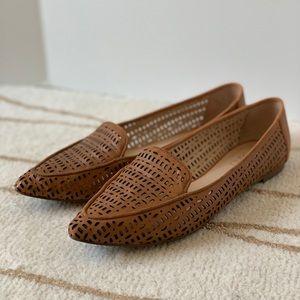 Franco Sarto Tan Perforated Leather Flats Size 7.5